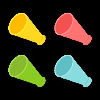 メガホン/6色の無料ベクターイラスト素材