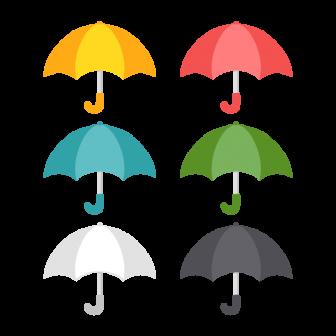 雨傘/6色の無料ベクターイラスト素材