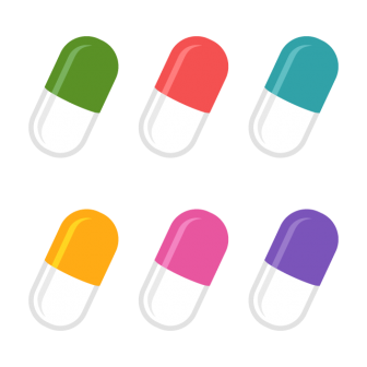 薬のカプセル/6色の無料ベクターイラスト素材