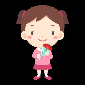 母の日に贈るカーネーションを持つ女の子の無料ベクターイラスト素材