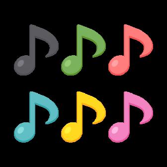 8分音符/6色の無料ベクターイラスト素材