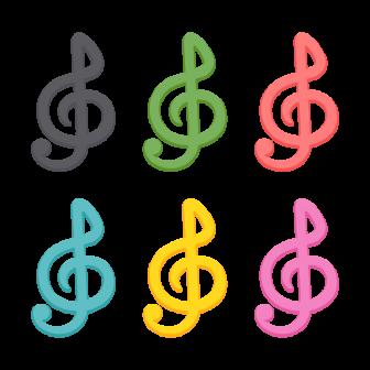 ト音記号/6色の無料ベクターイラスト素材