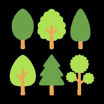 シンプルな木/6種の無料ベクターイラスト素材