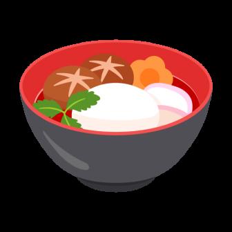 お正月に食べたいお雑煮(すまし汁)の無料ベクターイラスト素材
