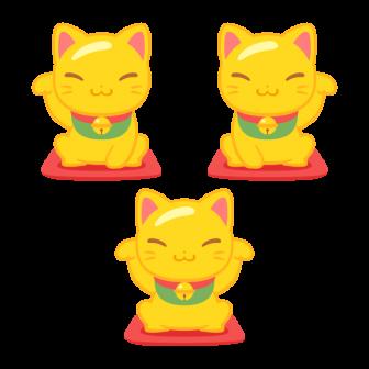 金運アップの金の招き猫/3種の無料ベクターイラスト素材