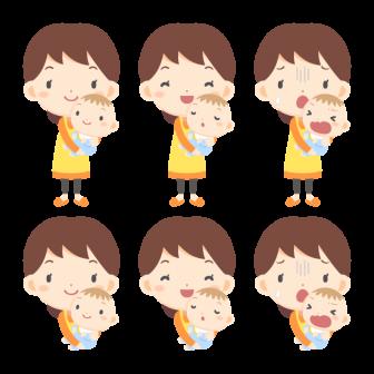 赤ちゃんを抱っこする女性(全身・バストアップ)/3種の無料ベクターイラスト素材