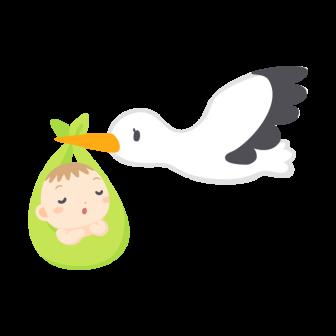 コウノトリに運ばれる赤ちゃんの無料ベクターイラスト素材
