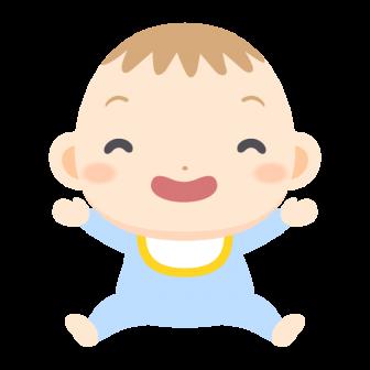 笑顔で万歳をする赤ちゃんの無料ベクターイラスト素材