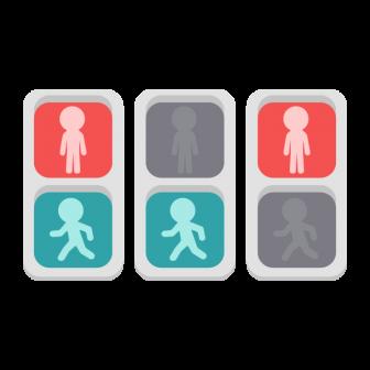 歩行者用信号機の点灯パターン/3種の無料ベクターイラスト素材