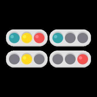 車両用信号機の点灯パターン/4種の無料ベクターイラスト素材