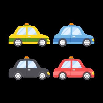 タクシー/4色の無料ベクターイラスト素材