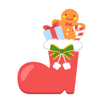 クリスマスブーツの無料ベクターイラスト素材