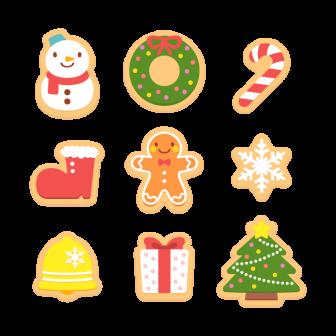 クリスマスのアイシングクッキー/9種の無料ベクターイラスト素材